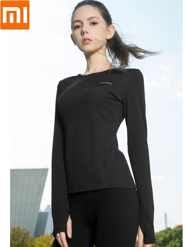 Xiaomi Women's Single Guide Wet Splice Slim Fit Running Long Sleeve Sports T-shirt Ultra Light Breathable Comfortable Sweatshirt