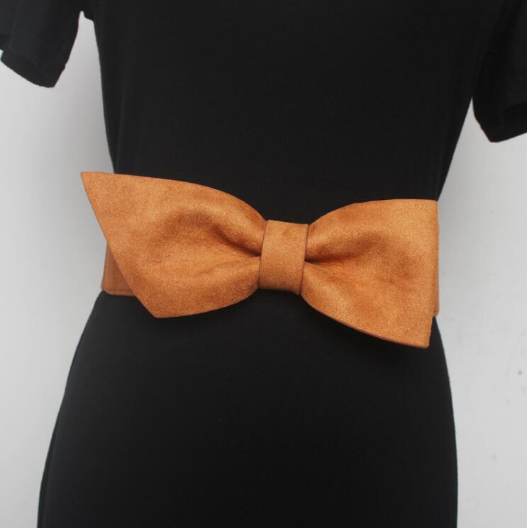 Women's Runway Fashion Faux Suede Bow Elastic Cummerbunds Female Vintage Dress Corsets Waistband Belts Decoration Wide Belt 2186