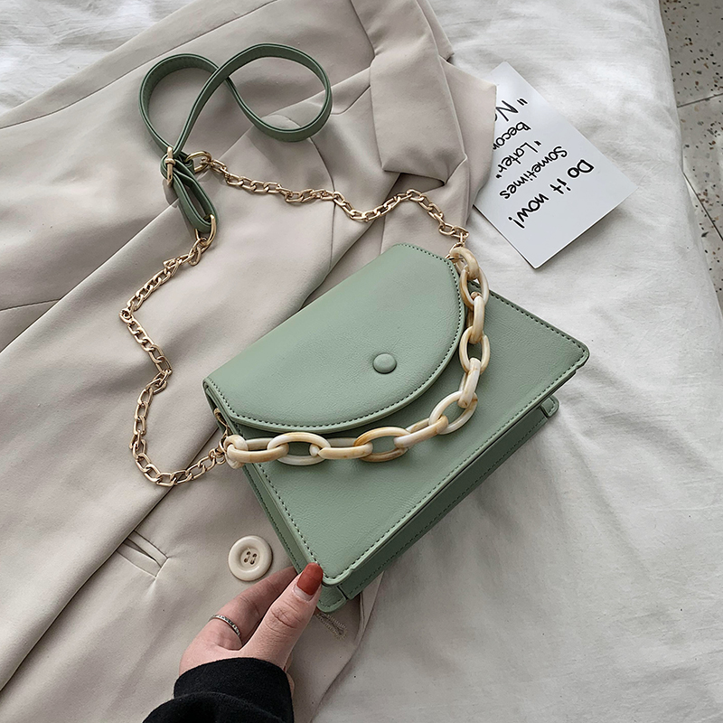 Candy Color Chain PU Leather Crossbody Bags For Women 2020 Small Shoulder Messenger Handbags Female Travel Flap Bag