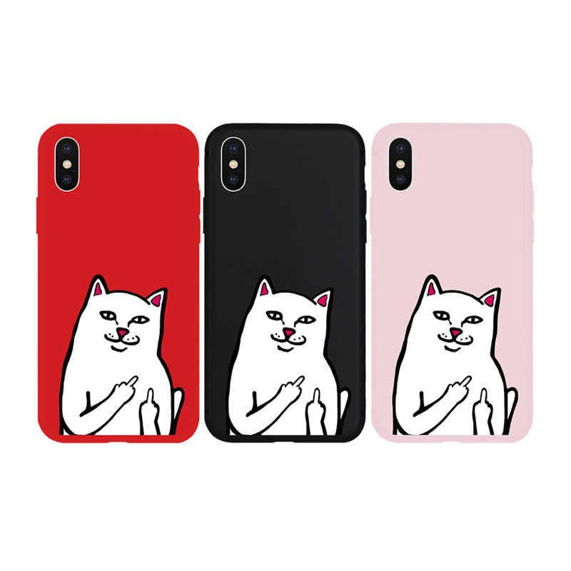 Zupełnie nowy środkowy palec, kot miękkie etui do iPhone 11 11 pro 11ProMax X Xs XR XsMax 8Plus 8 7Plus 7 6 6s Plus 5 5S SE telefon okładka