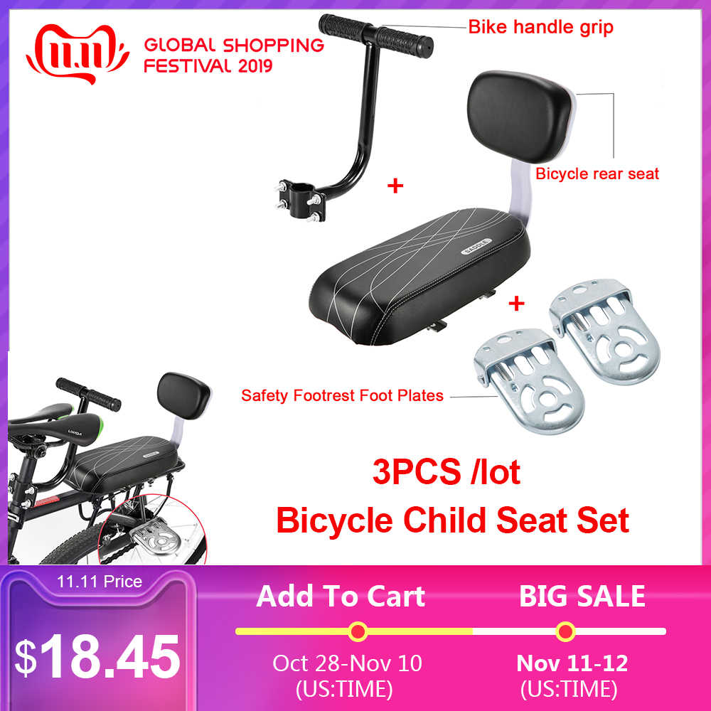 Cycle Accessories Parts Bicicleta Bicycle Rear Seat Saddle Bicycle Child Seat With Back Rest With Handle Armrest Footrest Pedal