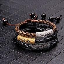 Vintage Braid Genuine Leather Bracelets Men Silver Color Tube Charm Bralcelet For Women