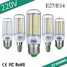 E27 E14 LED Corn Bulb Light 220V LED Lights For Home Decoration Warm White Cold White 5730 SMD Lamp 24 36 48 56 69 72 Leds e27 led bulb e14 led lamp ac 220v 240v corn candle lamp 24 36 48 56 69 72 leds chandlier lighting for home decoration led lights