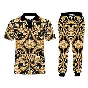 UJWI brand 3D Print Men two piece set Gold Flower Luxury Royal Baroque Tracksuit Jacket Sweatsuit Sweatshirt Hoodies sports 5XL 4