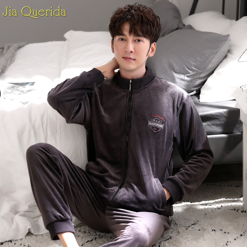 Pajamas Men Chocolate Long Sleeve Male Loungewear Winter Men Pajama Sets Quality Velvet Zipper Jacket Embroidery Sporty Homewear