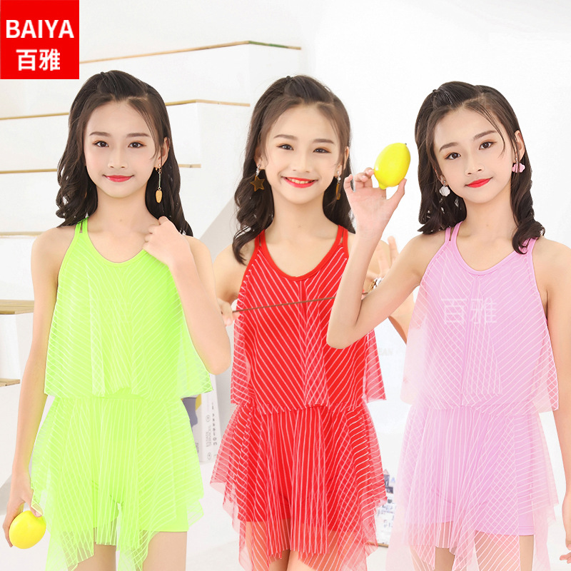 65-90 Jin Children Big Kid New Style Bathing Suit 2019 New Style Stripes One-piece Beach Swimming Suit Nt668071