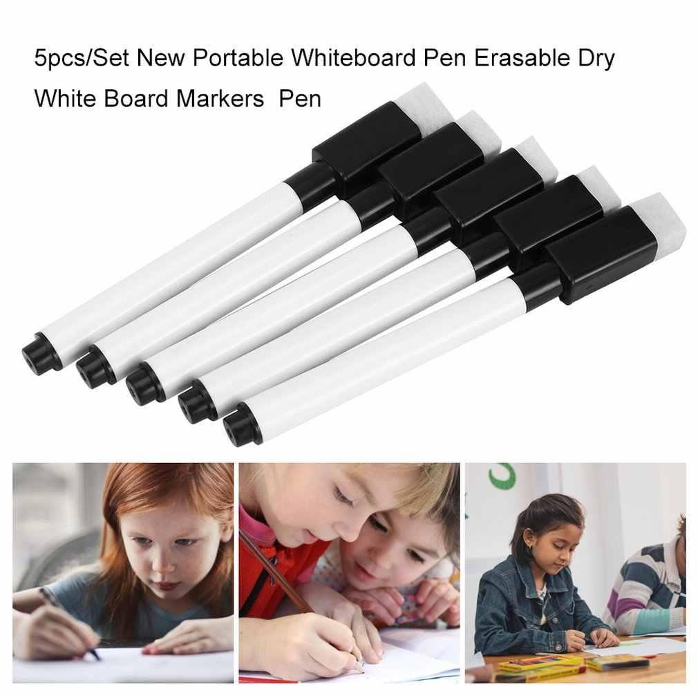 5 יח'\סט חדש לגמרי עט לוח מחיק יבש לבן סמנים סביבה ספר משרד מחק