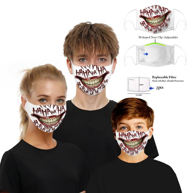 Cotton PM2.5 Mouth Mask Filter Mask 3D Print Funny Cosplayer Big Mouth Series Skull Face Mask Washable Reusable  Protective Mask 5