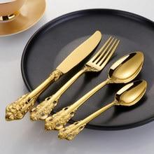 Vintage Western Gold Plated Cutlery 24pcs Dining Knives Forks Teaspoons Set Golden Luxury Dinnerware Engraving Tableware Set