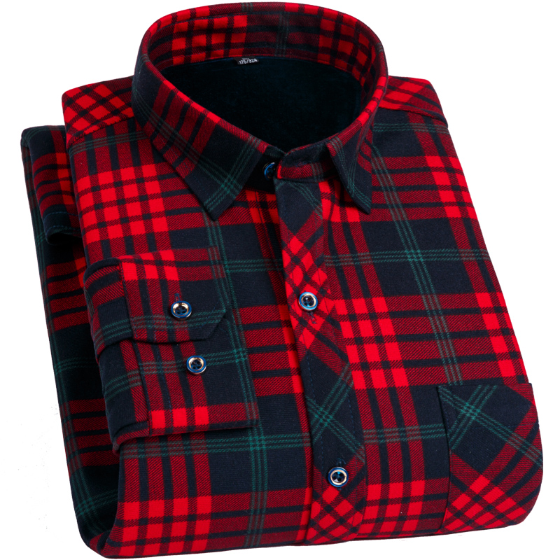 FillenGudd Plus Size 8XL Winter Mens Plaid Thermal Shirts Long Sleeve Warm Red And Black Printed Male Shirts Velvet 7XL 6XL 5XL