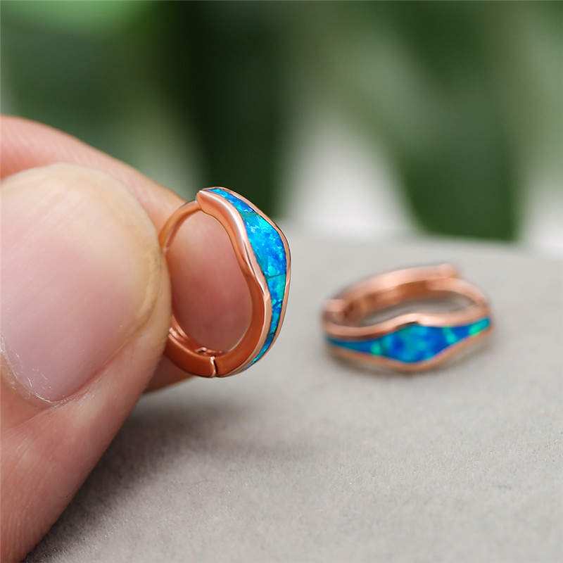 White Gold/Rose Gold Opal Stone Hoop Earrings For Women Vintage Fashion Blue/White Fire Opals Earring Female Geometric Jewelry