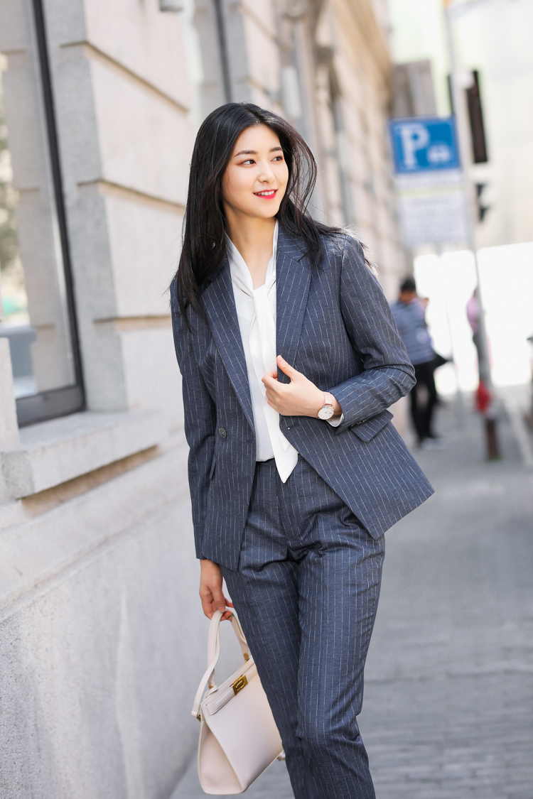 Jrhyme Pinstripe 2 Pieces Set Blazers And Tapered Pants,Women Business Jackets And Blazers Trousers Set,Striped Business Suits