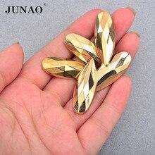 JUNAO – Strass acryliques en cristal doré, 13x35mm, à dos plat, à coudre sur les sacs à chaussures, couture