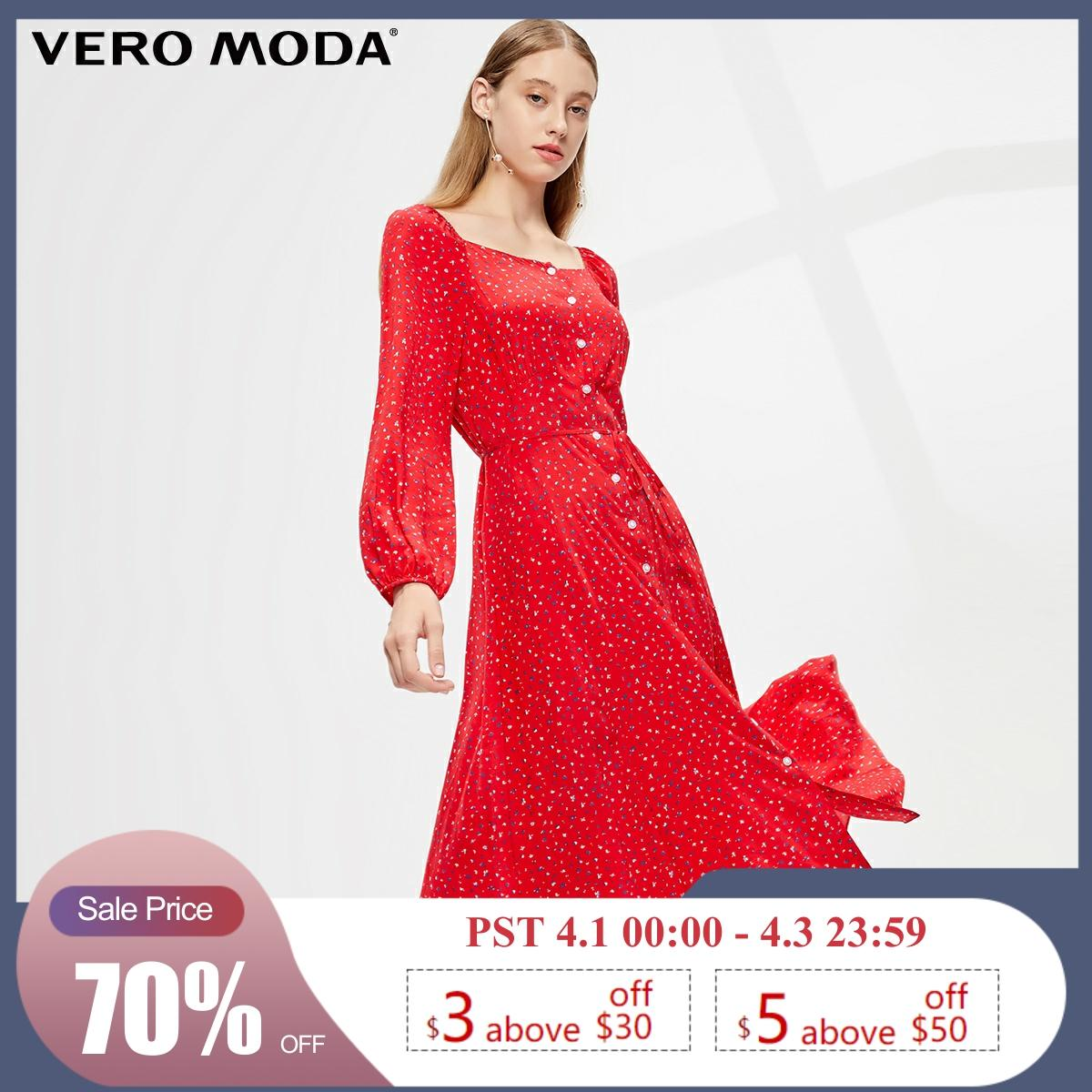 Vero Moda New Floral Royal Sleeves French Style Square-cut Collar Dress | 31937D517