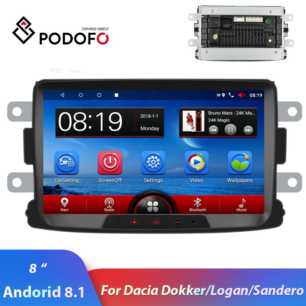 Podofo 2din Autoradio 8 ''Android 8.1 voiture lecteur multimédia GPS Wifi Mirrorlink pour Renault Sandero Duste Logan Dokker Autoradio