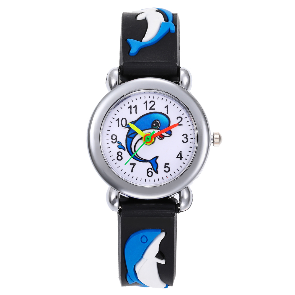 Plastic Round Kids Children Dial Analog Quartz Wristwatches Movement Dolphin 3D Cartoon Pattern Watch Kol Saati Clock Relogio