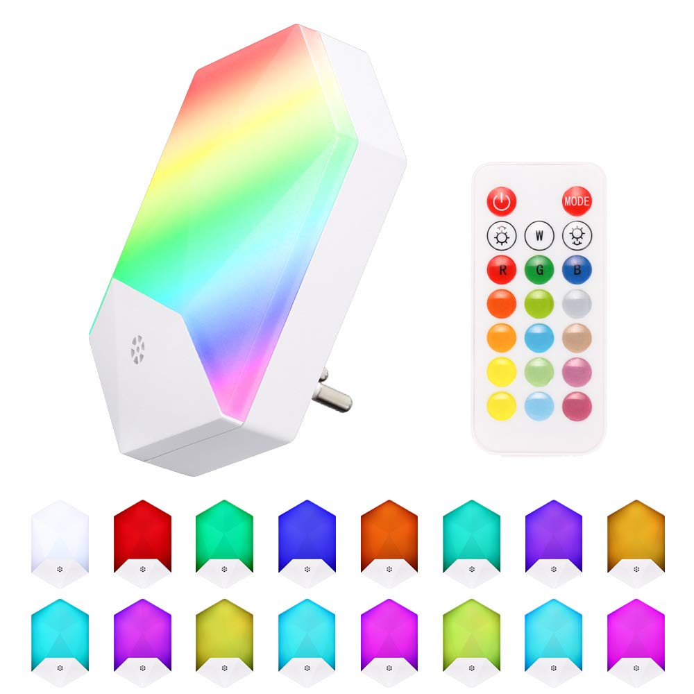 LED Night Light Plug In Wall Light RGB Color Changing Mood Lights Dimmable Night Lamp With 4 Modes / 16 Colors For Baby Kids