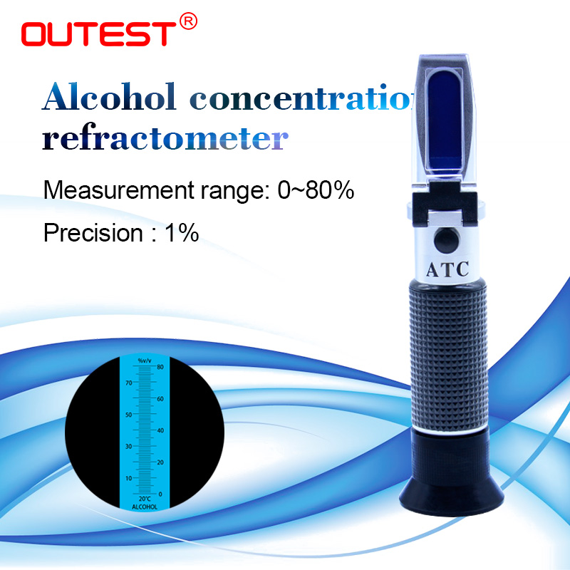 Handheld Wine Refractometer Professional Handheld Alcohol Tester with ATC 0-80/% Measuring Range Refractometer Wine Tester Meter Instrument with Case for Grape Wine Making Alcohol Test Homebrew Tool