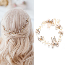 Женская тиара с жемчужными листьями, повязка на голову, свадебный аксессуар
