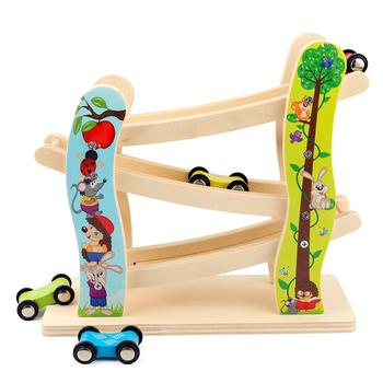 Kids Race Track Toy Wooden Race Cars Toy Gift with 4 cars Toys For Children Diecasts Slide Ladder Car Kids Educational Toy Gift hotwheels roundabout track toy kids cars toys plastic metal mini hotwheels cars machines for kids educational car toy