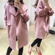 Womens Woolen Loose Casual Long Winter Parka Coat Lapel Trench Outwear Jacket