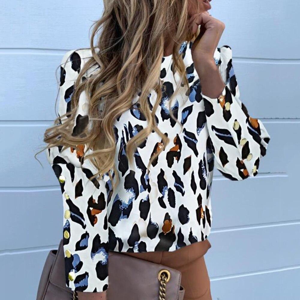 Muyogrt 2020 блуза с буфами на плечах; Блуза; Рубашки Офисные женские туфли летние металлические блузка на пуговицах для женщин, с рисунком ананас...