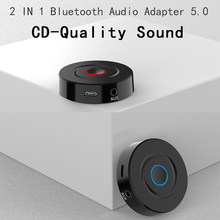 2 IN 1 5.0 Bluetooth Receiver Transmitter 3.5mm AUX Stereo Audio Round Wireless Bluetooth Adapter For Car TV PC Speaker Earphone(China)