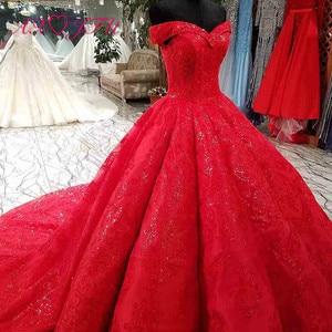 Image 3 - Vestido de boda AXJFU de lujo de princesa con cuentas de cristal y flores de encaje rojo, vestido de novia vintage con cuello de barco brillante con volantes 3392