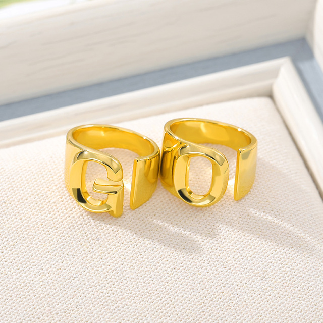 Adjustable A-Z Letter Ring For Women Gold Metal Opening Ring Initials Name Alphabet Female Party Fashion Jewelry Gift For Her 2