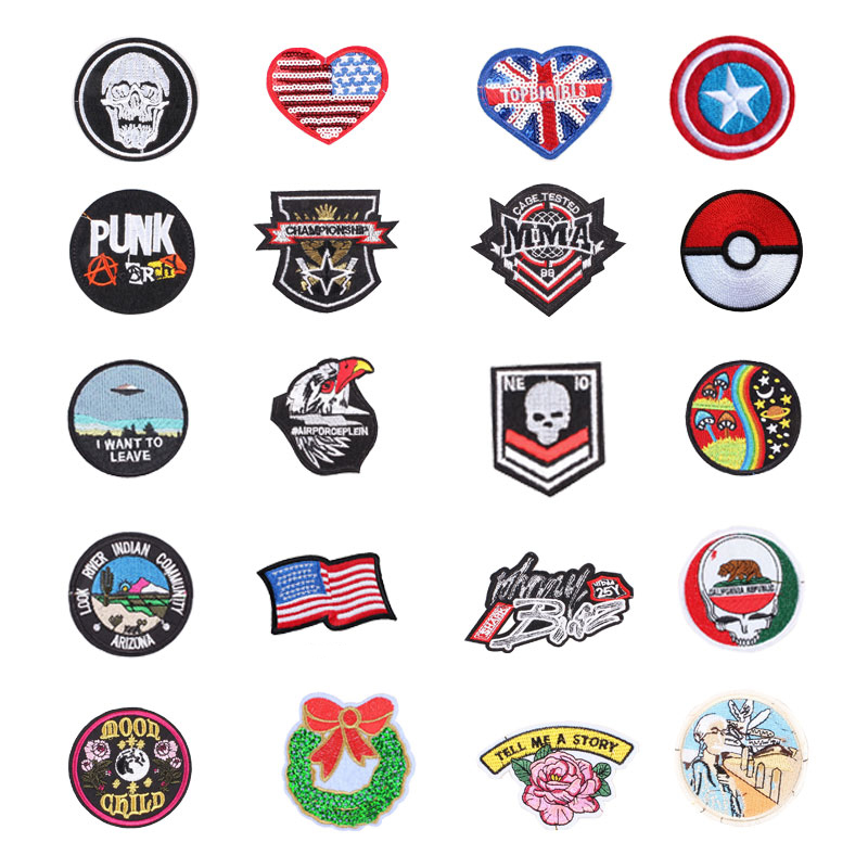 Flag Planet Things Iron On Patches For Clothing Embroidery Sewing Badge Stripe On Clothes Cute DIY Sequin Applique F(China)