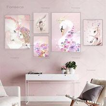 Детская стена для девочек Холст постер с принтом розовый мультфильм