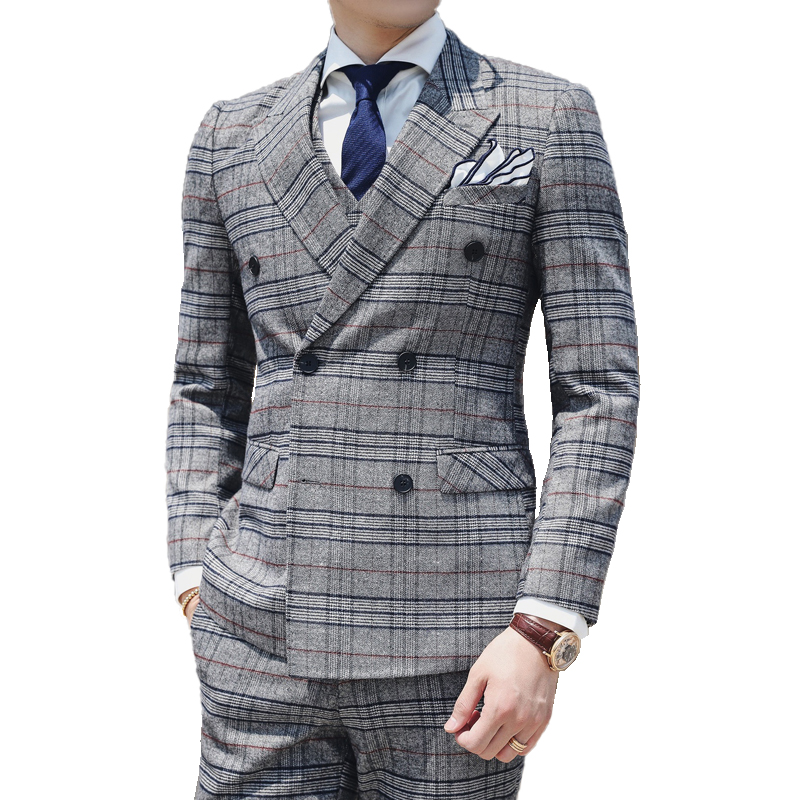( Jacket + Vest + Pants ) Men's High-end Brand Plaid Formal Business Double-Breasted Suit Groom Wedding Dress Suit 3 Piece Set