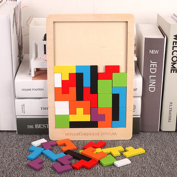 Wooden Puzzles Tangram For Children Baby Early Education Magic Puzzle Toys Brain Teaser Desktop Game Leisure Toy flyingtown montessori teaching aids balance scale baby balance game early education wooden puzzle children toys