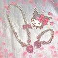 Harajuku Y2K блестящая жемчужина подвеска, сердце, персик ожерелье для женщин; Японские туфли в стиле Лолиты для девочек набор колье ожерелье бра...