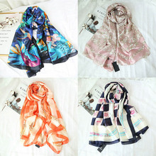 High Quality 2019 New Luxury Brand 100% Silk Floral Printed Women Scarves Long Scarf 70 Inch Foulard Femme Mothers Gift