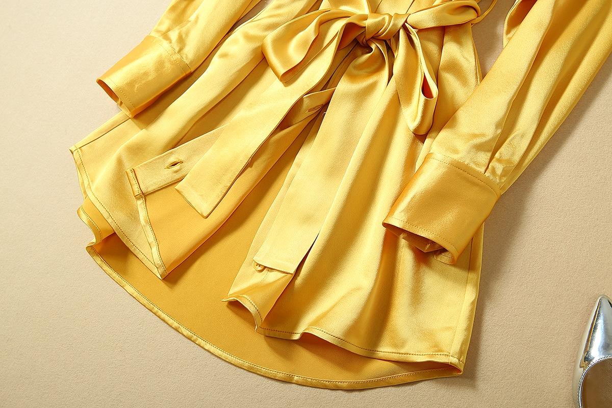 Nieuwe 2019 herfst vrouwen mode satijn shirt jurk acetaat lange mouwen sjerpen mini black sexy club jurken geel effen kleur - 6