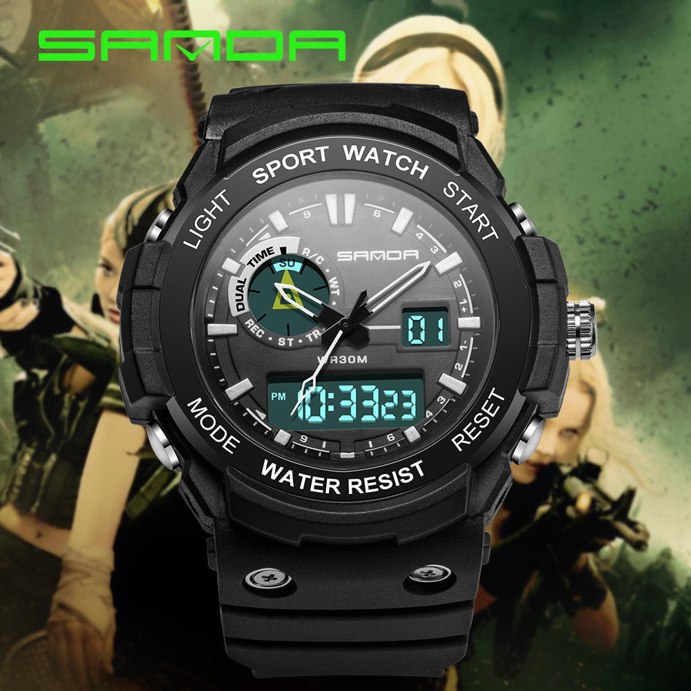 2019 Sanda Mens Watches Black Sports Watch LED Digital 3ATM Waterproof Military Men S Shock Male Clock relogios masculino