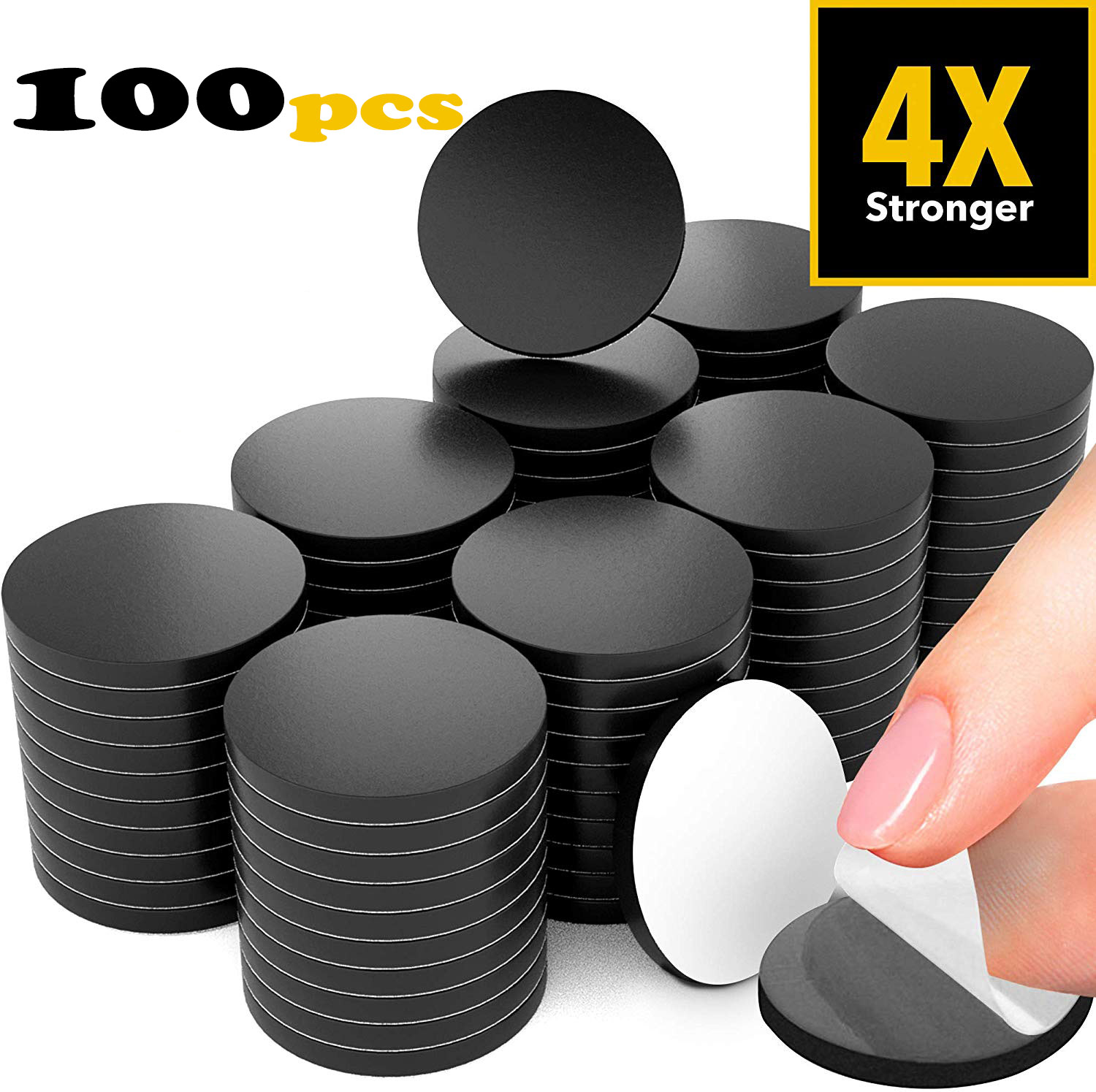 100pcs Peel Magnetic Circles Flexible Sticky Magnets Sheets Alternative Magnetic Stickers Strip Tape For Blackboard Teaching