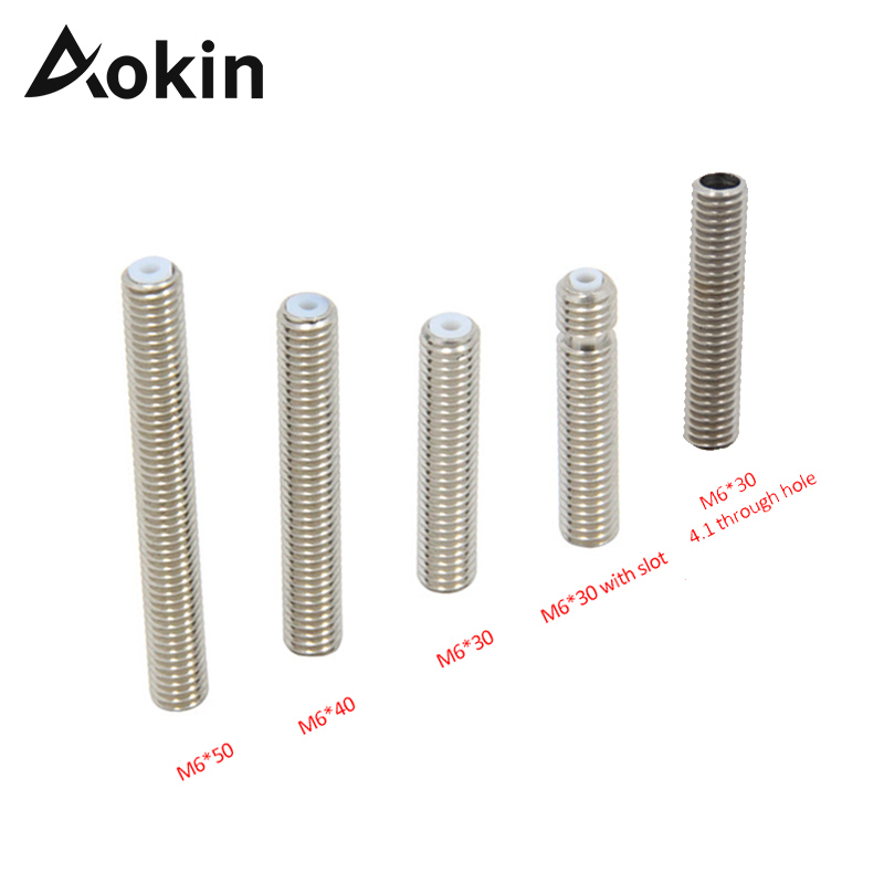 Aokin MK8 Extruder Throat M6 30mm 40mm 50mm Threaded For MK8 MK9 1.75mm Filament 3D Printers Teflon Tube Full Metal Part 4.1