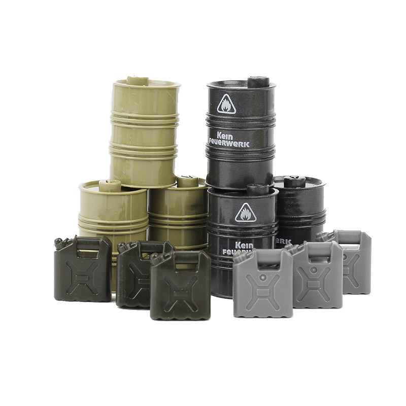 10PCS MOC WW2 Military Army Oil Drums Accessory Building Blocks City Soldier Weapons Car Oil Pot Barrel Bricks Toy for Children