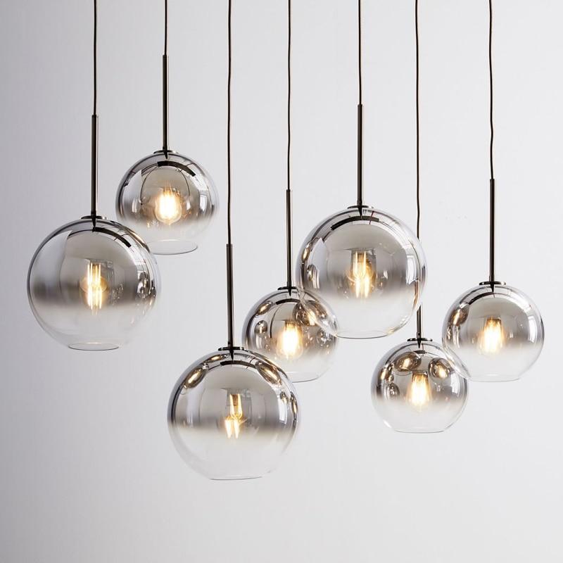 LukLoy Modern Pendant Light Silver Gold Glass Ball Hanging Lamp Hanglamp Kitchen Light Fixture Island Counter Suspension Lamp