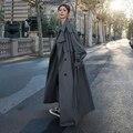 Koreanischen Stil Lose Übergroßen X-Lange frauen Trenchcoat Doppel-Breasted Belted Dame Mantel Windbreaker Frühling Herbst oberbekleidung Grau