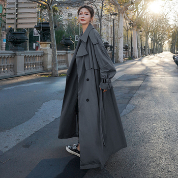 Korean Style Loose Oversized X Long Women s Trench Coat Double Breasted Belted Lady Cloak