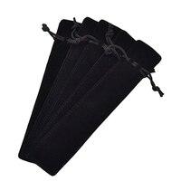 50 Pcs Black Velvet Pen Pouch Sleeve Holder Single Pen Bag Case Pencil Bag