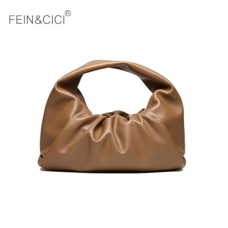 Hobos Bag Women PU Leather Dumplings Pouch Totes Handbag Shoulder Bag Vintage Retro Ruched Pillow Bag 2020 White Camel