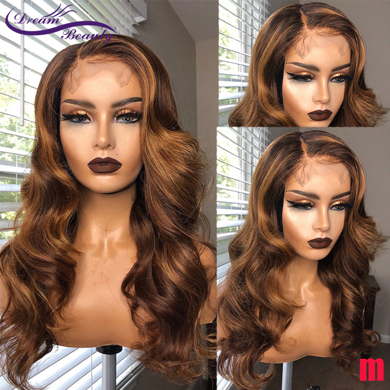 13x6 Wavy Brown Blond Ombre Color Highlight 180% Lace Front Human Hair Wigs Remy Brazilian Pre Plucked Hair Dream Beauty