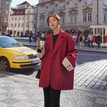 Loose Casual Ladies Blazer Solid Red Long Sleeve Stylish Suit Jacket Abrigos Mujer Korean Women Blazer Spring Large Size MM60NXZ