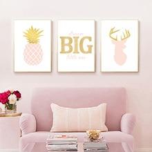 Pink Pineapple Wall Art Canvas Painting Custom Name Poster Cartoon Deer Print Kids Room Nursery Girl Pictures