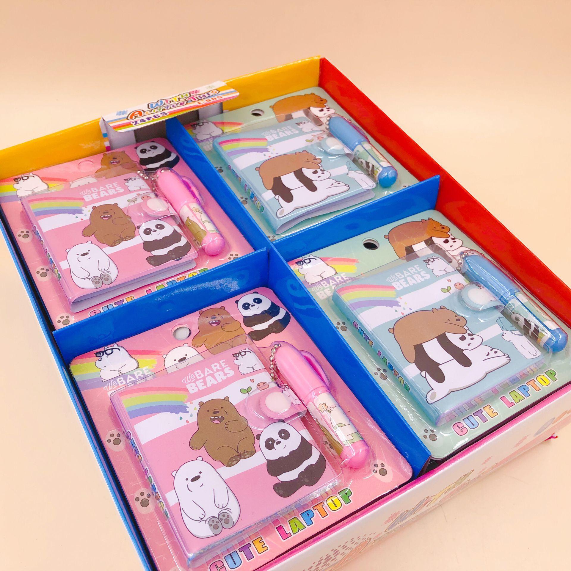 Kawaii Bare Bear Cartoon With Ballpoint Pen Mini Book Set Portable Pocket Notebook Diary Notepad Escolar Papelaria
