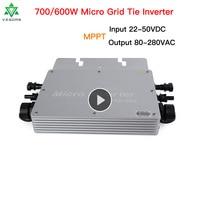 700/600W Micro Solar Inverter MPPT grid Tie Hybrid inverter 220V Inversor 22 50VDC to 80 280VAC Auto Match for 2*300/350W Board